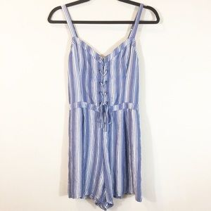 {Hollister} Striped Romper With Lace Up Front
